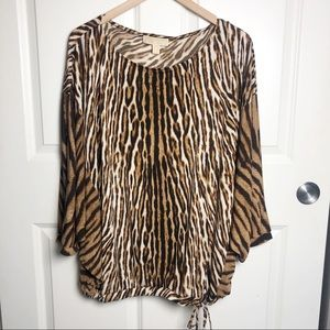 Michael Kors Animal Print Flowy Top XL